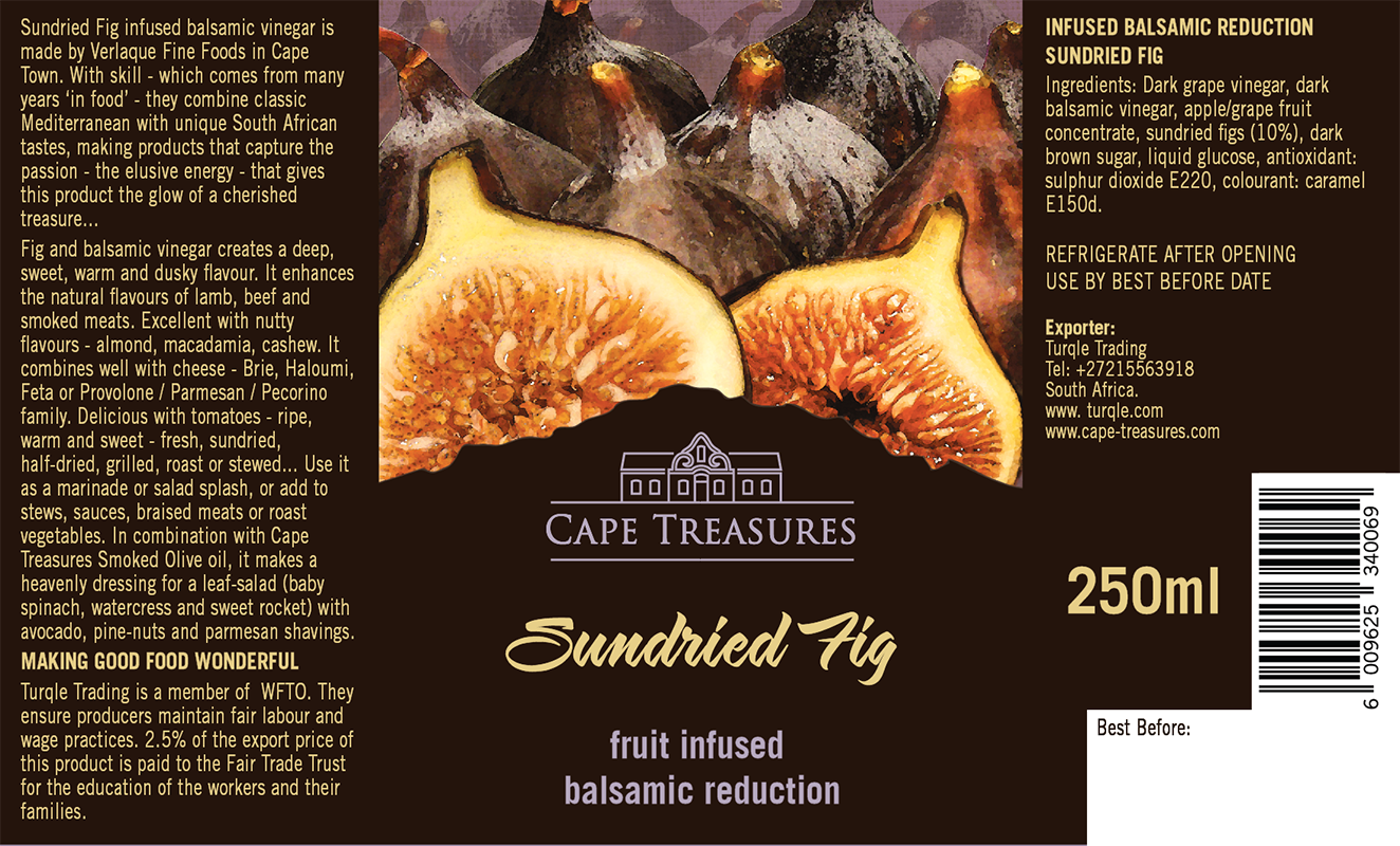 Cape Treasures Balsamic Vingegar Infused with Sundried Fig : Product labels